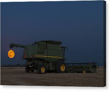 Canvas Print featuring the photograph Full Moon And Combine by Rob Graham