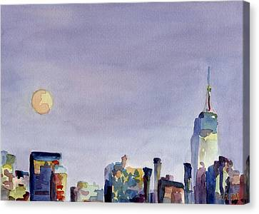 City Scenes Canvas Print - Full Moon And Empire State Building Watercolor Painting Of Nyc by Beverly Brown Prints
