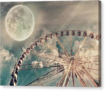 Full Moon And Ferris Wheel Canvas Print by Marianna Mills