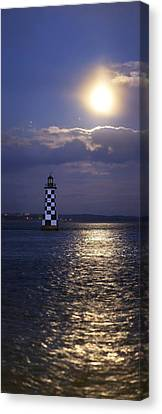 Sea Moon Full Moon Canvas Print - Full Moon And Jupiter Over A Lighthouse by Science Photo Library
