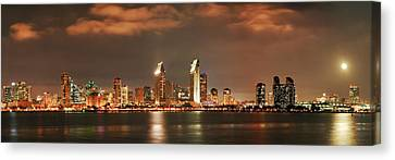 Canvas Print featuring the photograph Full Moon And San Diego Skyline Panorama by Lee Kirchhevel