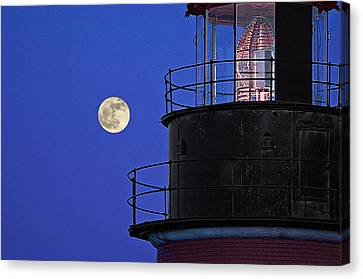Canvas Print featuring the photograph Full Moon And West Quoddy Head Lighthouse Beacon by Marty Saccone