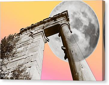 God Of Light Canvas Print - Full Moon At Apollo by Augusta Stylianou