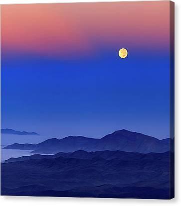 Serena Canvas Print - Full Moon At Dawn by Babak Tafreshi