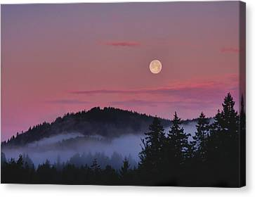 Full Moon At Dawn Canvas Print by Peggy Collins