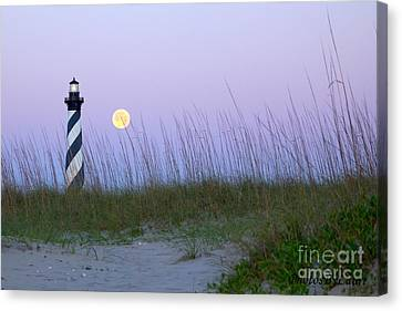 Full Moon At Hatteras Canvas Print by Laurinda Bowling