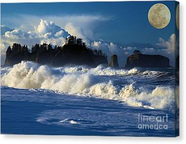 Full Moon At Rialto Canvas Print by Adam Jewell
