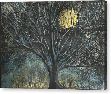 Canvas Print featuring the painting Full Moon by Douglas Beatenhead