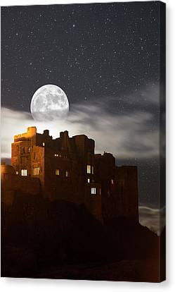 Full Moon Glowing In A Starry Sky Canvas Print