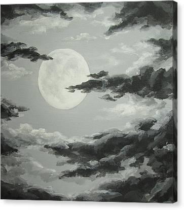 Full Moon In A Cloudy Sky Canvas Print by Anna Bronwyn Foley