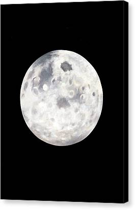 Canvas Print featuring the painting Full Moon In Black Night by Janice Dunbar