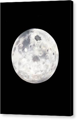 Full Moon In Black Night Canvas Print