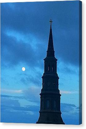 Canvas Print featuring the photograph Full Moon In The Holy City by Joetta Beauford