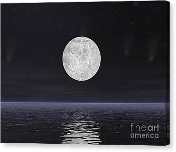 Full Moon On A Dark Night With Stars Canvas Print by Elena Duvernay