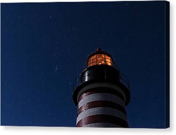 Full Moon On Quoddy Canvas Print by Marty Saccone