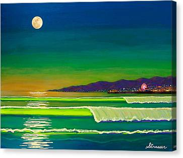 Full Moon On Venice Beach Canvas Print by Frank Strasser