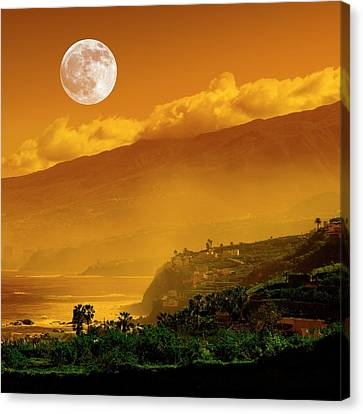 Full Moon Over Coast Canvas Print