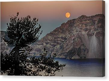 Canvas Print featuring the photograph Full Moon Over Crater Lake by Gary Neiss