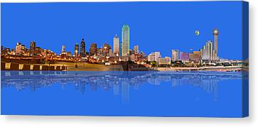 Full Moon Over Dallas Reflected Canvas Print