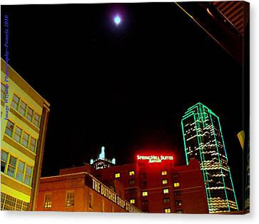 Dallas Skyline Canvas Print - Full Moon Over Dallas Streets by ARTography by Pamela Smale Williams