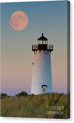 Full Moon Over Edgartown Lighthouse Canvas Print by Katherine Gendreau