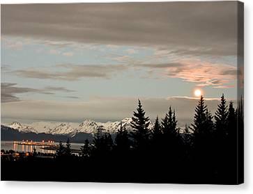 Full Moon Over Homer Alaska Canvas Print by Natasha Bishop