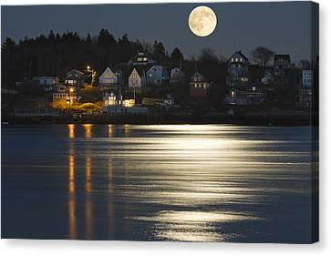 Full Moon Over Kennebec River Georgetown Island Maine Canvas Print by Keith Webber Jr