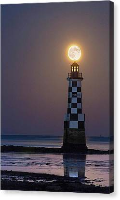 Full Moon Over Lighthouse Canvas Print