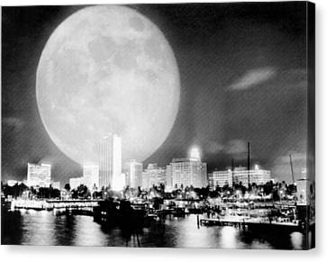 Full Moon Over Miami Canvas Print