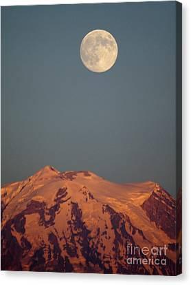 Full Moon Over Mount Rainier Canvas Print