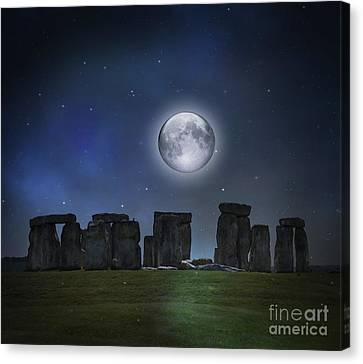 Full Moon Over Stonehenge Canvas Print by Juli Scalzi