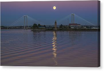 Full Moon Over The Cable Bridge Canvas Print by Loree Johnson