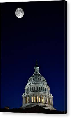 Full Moon Over Us Capitol Canvas Print