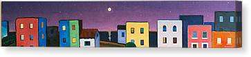 Silver Moonlight Canvas Print - Full Moon Purple Sky by Jorge Pinto