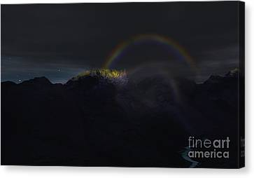 Canvas Print featuring the painting Full Moon Rainbow by Pet Serrano