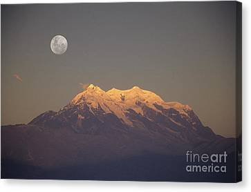 Full Moon Rise Over Mt Illimani Canvas Print by James Brunker