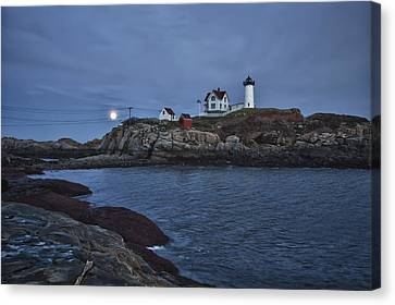 Nubble Lighthouse Canvas Print - Full Moon Rise Over Nubble by Jeff Folger