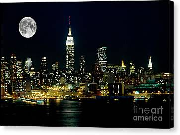 New York City Skyline Canvas Print - Full Moon Rising - New York City by Anthony Sacco