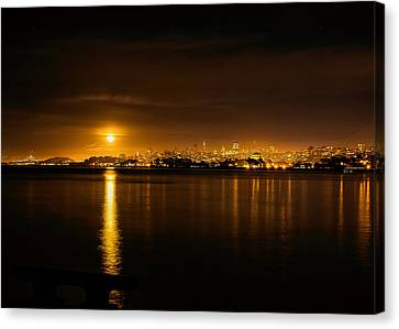 Full Moon Rising Over San Francisco Canvas Print
