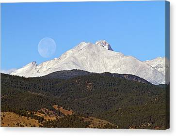 Full Moon Setting Over Snow Covered Twin Peaks  Canvas Print by James BO  Insogna