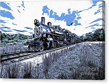 Full Steam Through The Meadow Graphic Canvas Print by Edward Fielding