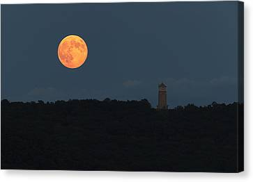 Full Sturgeon Moon Rising Over Quabbin Hill Canvas Print