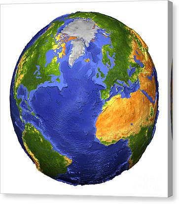 Full View Of The Earth Showing Canvas Print by Stocktrek Images