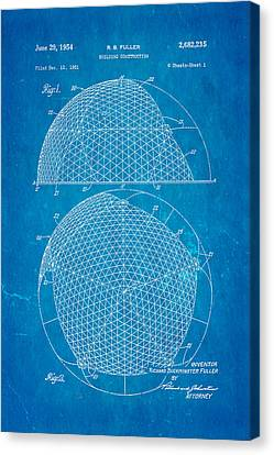Fuller Geodesic Dome Patent Art 1954 Blueprint Canvas Print by Ian Monk
