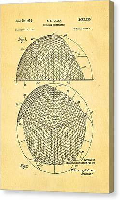 Fuller Geodesic Dome Patent Art 1954  Canvas Print by Ian Monk