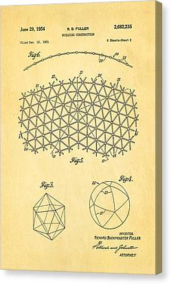 Fuller Geodesic Dome Patent Art 2 1954  Canvas Print by Ian Monk