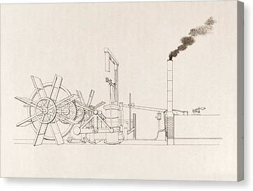 Fulton's Paddleboat Engine Canvas Print by Science, Industry And Business Library/new York Public Library