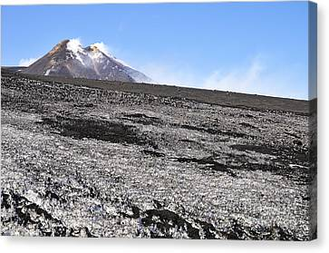 Fumarole And Snow Field On Mount Etna Canvas Print by Sami Sarkis