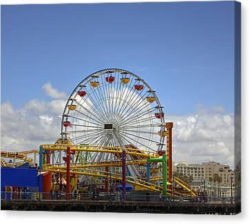 Fun At Santa Monica Pier Canvas Print by Kim Hojnacki
