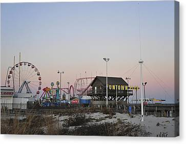 Roller Coaster Canvas Print - Fun At The Shore Seaside Park New Jersey by Terry DeLuco